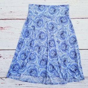 Lularoe Azure Blue Rose Floral Printed Skirt